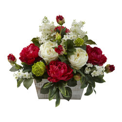 Covered In Style Inc - Mixed Floral Arrangement w/White Wash Planter - Let your love for this centerpiece bloom. Lush peonies speak of tastefulness and springtime; in classic red and white, they will stay stylish for years to come. Clustered with deep green leaves and accent flowers, this arrangement will fit perfectly in the center of your dining table.
