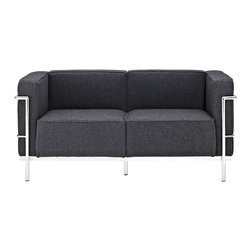 "IFN Modern - Le Corbusier LC3 Style Loveseat-Dark Grey - Cashmere Wool - The original Le Corbusier Sofa set collection was designed for the prestigious Maison La Roche house in Paris, France in the year 1928. This design is a modernist take on the traditional club chair.  This collection varies in a smaller version known as the LC2 and a larger version known as the LC3 which is considered to be more functional for practical living purposes. Exceptional in comfort, Le Corbusier often thought of his pieces as ""cushion baskets."" An intriguing quality of the LC2 is the externalized metal frame which offers support to the base and extends as the legs and runs the entire length of this beautiful piece. The LC2 is not only attractive in a forward facing view- the metal frame work extends into design detail from the sides and back as well allowing for placement in any given area of a room. This is a quality, highly detailed reproduction of the original Le Corbusier Style LC3 Loveseat.â— Dark Grey â— Fully upholstered in Cashmereâ— Frame is constructed of grade 304 steel for stronger support and durable chip resistanceâ— All joints are fully welded, grind, sealed and sandedâ— Adjustable leveling floor protecting foot-capsâ— Multi-density, CA-117 compliant cushions wrapped in Dacron polyester battingâ— Reinforced bottom seat cushions for firm, long-lasting comfortâ— Fire retardant foamâ— Hardwood box frame construction"