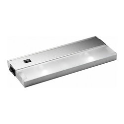 """Kichler - Kichler 2-Light Cabinet Strip/Bar Light - Stainless Steel - Two Light Cabinet Strip/Bar Light 1"""" profile x 5"""" w. 120 volt, 20 watt xenon bulb(s). Direct wire or inter-connect ability. Ability to snap fixtures together to create an even flow of light. Durable anodized bronze, brushed stainless steel or powder-coated white finish. High/low/on-off switch. Cul listed. Ul listed nm and bx single cable connector included"""