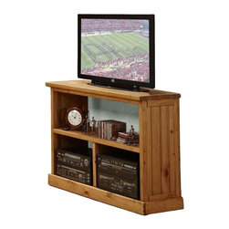 Chelsea Home - 3-Shelf Wooden TV Stand - Rustic style. Constructed for strength and durability. Warranty: One year. Made from solid pine wood. Ginger stain finish. Made in USA. No assembly required. 43 in. W x 16 in. D x 33 in. H (90 lbs.)