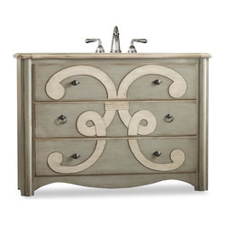 """Cole & Co - Designer Chamberlain Sink Chest - Bold artistic motif. Three drawers are lined with a lovely wallpaper. Two styles of pulls are finished in an antiqued pewter. Made from hardwood solids and veneers. 48 in. W x 20 in. D x 34.25 in. H (153 lbs.)Cole + Co. Carlylse or Coventry Drop-in sinks for use with existing wooden top; Cole + Co. Fairfield undermount should you want to add your own granite, marble or quartz top.  If stone top is preferred, please note on order """"Cut for Granite"""" and our craftsmen will cut a large hole in the top of the vanity prior to shipment so that sink positioning during stone top installation is easier.  Please note all sink recommendations presume a standard 8 in. widespread faucet installation with 1 3/8in. valves and no special placements.  Any and all vanities with custom cuts (including for a specified sink or stone top) are considered a special order, and therefore are non-returnable.  Cole will also cut to your own custom sink presuming it fits.  Just note on the order which sink you will be using.  If we do not have a template for your particular sink, to insure a proper fit, we may require you to send the sink or a template."""