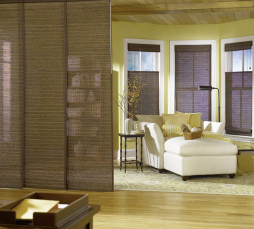 Bali Sliding Panels Natural Shade Fabrics - Bali Sliding Panels offer a modern alternative to standard window treatments! Perfect for patio doors, wide windows or as a room divider, these versatile panels slide along a smooth operating aluminum track. Best of all, Sliding Panels are available in most of the same material styles and colors featured in the Roman, Roller, Solar and Natural Shade collections for a perfectly coordinated look.