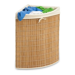 Honey Can Do - Wicker Corner Hamper - Wicker and Canvas Corner Hamper. Removable, washable canvas liner. 24 in. H x 15 in. L x 15 in. W