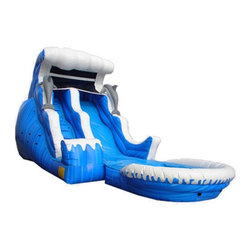 Kidwise - Kidwise 18 ft. Double Drop Wave Inflatable Slide With Pool - KE-WS4120 - Shop for Tents and Playhouses from Hayneedle.com! Turn up the fun and let kids beat the heat by riding the exciting Kidwise 18 ft. Double Drop Wave Inflatable Slide With Pool. This commercial grade inflatable attraction is a great way to add a splash of fun to birthday parties church functions fairs festivals or block parties. It s made of durable 18-ounce colorful PVC vinyl and can be used either wet or dry for versatile fun all year around. A curved stop wall and landing zone makes it safe and fun for kids. It also comes complete with blower repair kit stakes tarp and even a blank banner for advertising.About Kidwise ProductsThis item is made by Kidwise Outdoors a company whose focus is safe fun excitement for kids. Kidwise strives to promote safe play for kids of all ages through outside activities. Their line of products includes swing sets trampolines inflatable bouncers bikes sport goals and many other items to choose from. Kidwise guarantees all of their products against defects. Like Hayneedle their goal is 100% satisfaction from customers. Their product lines focus on kid-friendly items that are fun to play with and stimulate balance and a healthy lifestyle for kids.