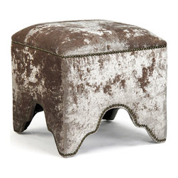 """Kathy Kuo Home - Modern Mink Velvet Nail Head Trim Ottoman Foot Stool - Few fabrics say """"bohemian"""" like crushed velvet does, and this classic Ottoman foot stool proves it.  Detailed in nail head trim, and upholstered in a lush mink tone, this global bazaar beauty delivers a sensual, earthy effect to bedrooms and living rooms alike."""