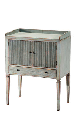 Kathy Kuo Home - Lorelei Spindle Leg French Country Blue Gray Wash Side Table - Sleek and stately, this charming table comes in a sophisticated wash and will add elegance to your decor. This versatile table would work well as a lovely nightstand in a French Country style bedroom, or as an end table in a vintage-inspired living room.
