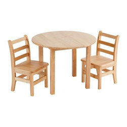 "Ecr4kids - Ecr4Kids Kids Classroom 30"" Round Hardwood Wooden Table W/2 Chair Sets Natural - Deluxe solid hardwood table, featuring a 0.75"" bull-nose edge, easy to clean with a natural finish. Sturdy 1.75"" square legs. Three rung ladderback chairs are made of solid hardwood construction for durability and curved back legs to help reduce tipping. Easy to assemble."