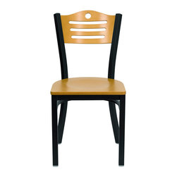Flash Furniture - Hercules Series Black Slat Back Metal Restaurant Chair - Natural Wood Back & Sea - Provide your customers with the ultimate dining experience by offering great food, service and attractive furnishings. This heavy duty commercial metal chair is ideal for Restaurants, Hotels, Bars, Lounges, and in the Home. Whether you are setting up a new facility or in need of a upgrade this attractive chair will complement any environment. This metal chair is lightweight and will make it easy to move around. This easy to clean chair will complement any environment to fill the void in your decor.