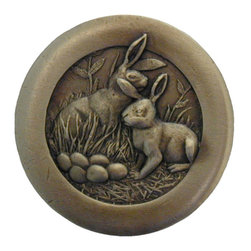 """Inviting Home - Rabbits Knobs (antique brass) - Hand-cast Rabbits Knob in antique brass finish; 1-7/16"""" diameter; Product Specification: Made in the USA. Fine-art foundry hand-pours and hand finished hardware knobs and pulls using Old World methods. Lifetime guaranteed against flaws in craftsmanship. Exceptional clarity of details and depth of relief. All knobs and pulls are hand cast from solid fine pewter or solid bronze. The term antique refers to special methods of treating metal so there is contrast between relief and recessed areas. Knobs and Pulls are lacquered to protect the finish. Alternate finishes are available."""
