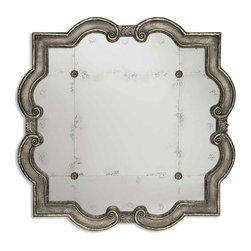 "Uttermost - Uttermost 12557 P Prisca Distressed Silver Antiqued Mirror Large - 65"" Length - Distressed Silver Leaf w/ Black Undertones"