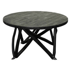 NPD (New Pacific Direct) Furniture - Branch Forest Coffee Table by NPD Furniture, Black - The Black, Washed or Weathered Gray finish plays up the sculptural form of this occasional coffee table while adding an urban chic to the rustic branches and logs from which it's crafted.