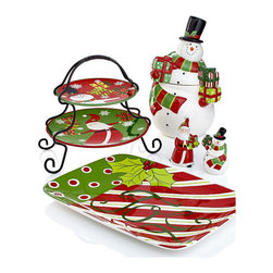 Certified International Christmas Presents Collection - Even if you aren't the best cook, if you have a great food presentation, you've got nothing to worry about. I love this festive set that can be used for breakfast and dessert after dinner. The two-tier serving platter is perfect for small treats and biscuits.