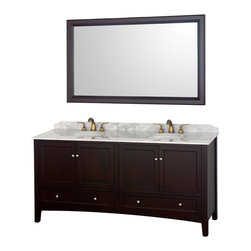 """Wyndham - Audrey 72"""" Double Bathroom Vanity Set - Espresso - The Audrey double vanity and mirror combines the best of contemporary and transitional style with practicality, to create a timeless piece of bathroom furniture.; The Audrey is available in an espresso finish with brushed nickel hardware, soft-close door hinges, Ivory Marble or White Carrera Marble countertops and white porcelain sinks. The matching mirror completes the look, for a vanity as beautiful years from now as it is today.; Constructed of solid, environmentally friendly, zero emissions wood and veneers, engineered to prevent warping and last a lifetime; Soft-close door hinges; Includes matching mirror; Includes white porcelain undermount sinks; White carrera marble counter; Pre-drilled for 8"""" widespread faucets; Faucets not included ; Dimensions: Vanity 72-1/4 x 22-1/4 x 35-1/2; Mirror 60 x 36 x 1-1/2"""