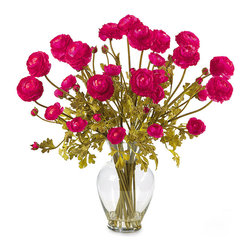 Nearly Natural Silk Ranunculus Liquid Illusion Flower Arrangement, Pink Beauty - You can't resist a pretty bouquet of flowers. Place these bright blooms on your dining table, side table or any place that is in need of a little color.
