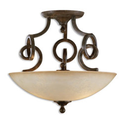 Uttermost - Uttermost Legato Semi-Flush Mount Ceiling Fixture in Distressed Chestnut - Shown in picture: Distressed Chestnut Brown With Heavily Frosted - Scavo Glass Globe. The linear complexity of this design is unique and intriguing - yet somehow very simple with its own quiet elegance. This collection can move easily from casual thru contemporary - and the classic shape of the Scavo glass softens and relaxes the effect to