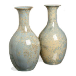 Kathy Kuo Home - Arles Classic Pale Blue Gray Stoneware Reactive Glaze Vase Set - Nothing adds more elegance to a home than a classic set of stoneware ceramic vases. With a creamy blue and gray taupe mottled surface, the smooth lines leading to a fluted lip suggest graceful design and airy beauty. Place these on your end table for a softening effect.