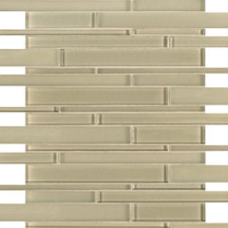 Artistic Tile Opera Glass Collection - Ovation Stilato Linear Mosaic - Versatile, contemporary and timeless: Opera Glass offers ultimate design flexibility. Clear float glass, with color applied to the back, in large and small formats, full spectrum of colors, satin and gloss finishes, and wide selection of shapes allow for endless pairing possibilities. Its versatility is unrivaled. Modern and classic, mysterious and inviting, Opera Glass is fresh and elegant.