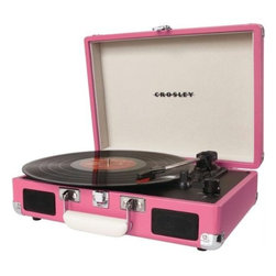 Crosley CR8005A-PI Cruiser Portable Turntable, Pink - Spin your black circle in style with a pink turntable for your records.