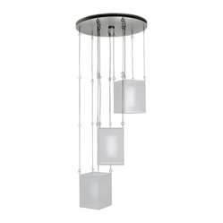 Fine Art Lamps - Quadralli Silver Drop Light, 435740-2ST - Why not go bold with your lighting? The luxurious glow cascading from these three organza shades will smartly light any room. It's the ultimate statement piece for the home.