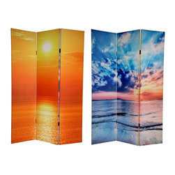 Oriental Unlimted - Double Sided 6 ft. Tall Sunrise Canvas Privac - One double-sided divider, both sides shown in image. High quality wood & fabric covered room divider. Well constructed, extra durable, kiln dried Spruce wood frame panels. Covered top to bottom, front, back and edges, with tough stretched poly-cotton blend canvas. 2 Extra large, beautiful art prints. Printed with fade resistant, high color saturation ink creating 2 stunning, long lasting, vivid images. Powerful visual focal points for any room. Amazingly inexpensive, practical, portable, decorative accessory. Almost entirely opaque, double layer of canvas, providing complete privacy. Easily block light from a bedroom window or doorway. Great home decor accent - for dividing a space, redirecting foot traffic, hiding unsightly areas or equipment. Provides a background for plants or sculptures, or use to define a cozy, attractive spot for table and chairs in a larger roomMake a splash with this pair of extraordinary, colorful nature photographs. The front features a shot of the ocean shimmering like quicksilver, the light of the setting sun refracting through a canopy of dynamic clouds. On the back is a beautiful seaside photo wherein the afternoon sun is casting a sublime, elegant, golden haze across the water. These beautiful pictures will bring stunning decorative accents to your living room, bedroom, meditation studio or place of business. This 3 panel screen has different images on each side.