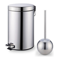 Cook N Home - Cook N Home Stainless Steel Step Trash Bin Toilet Brush Set - The Cook N Home trash bin with step and toilet brush set features a stainless steel surface that is easy to wipe clean. The trash bin in this set offers a removable inner bucket,and a 7-liter capacity.