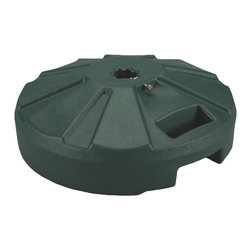 "Patio Living Concepts - Patio Living Concepts Umbrella Base Stands 00232 Umbrella Base in Green - 00232 Umbrella Base in Green belongs to Umbrella Base Stands Collection by Patio Living Concepts Molded resin umbrella base with stainless steel hardware. For use with umbrellas up to a 1 -1/2"" diam. pole. Easy fill spout and cap to secure up to 50 lbs. of sand filler for weight. Ideal for use under outdoor dining tables. Umbrella Base (1)"