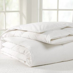 Supreme Freshness Assured(TM) Goose Down Comforter, Supreme, Twin - Filled with white goose down, the softest available, this luxurious comforter has a fill power of 650 for maximum loft. White goose down. Sateen cover is 300-thread-count cotton. Down is Freshness Assured(TM) through an exclusive cleaning process that guarantees hypoallergenic comfort. Finished with end-to-end box stitching. Recommended for use in colder seasons. Machine wash. Catalog / Internet Only. Made in the USA of imported materials.