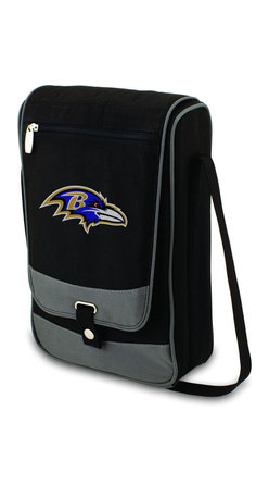 "Picnic Time - Baltimore Ravens Barossa Wine Tote in Black - The Barossa is so sleek and sophisticated, you'll want to take it with you every chance you get. It's made of 600D polyester and features an adjustable shoulder strap that makes it easy to carry and a flat zippered pocket on the exterior flap. The Barossa is fully insulated to keep your wine the perfect temperature and has a divided interior compartment to separate your bottle of wine from the 2 (8 oz.) acrylic wine glasses included. Also included are: 1 stainless steel waiter style corkscrew, 1 bottle stopper (nickel-plated), and 2 napkins (100% cotton, 14 x 14"", Black with silver pinstripe). The Barossa wine tote is perfect for picnics, concerts, or travel and makes a wonderful gift for those who enjoy wine.; Decoration: Digital Print; Includes: 3 stainless steel waiter style corkscrew, 1 bottle stopper (nickel-plated), and 2 napkins (100% cotton, 14 x 14"", Black with silver pinstripe)"