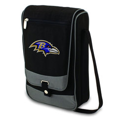 """Picnic Time - Baltimore Ravens Barossa Wine Tote in Black - The Barossa is so sleek and sophisticated, you'll want to take it with you every chance you get. It's made of 600D polyester and features an adjustable shoulder strap that makes it easy to carry and a flat zippered pocket on the exterior flap. The Barossa is fully insulated to keep your wine the perfect temperature and has a divided interior compartment to separate your bottle of wine from the 2 (8 oz.) acrylic wine glasses included. Also included are: 1 stainless steel waiter style corkscrew, 1 bottle stopper (nickel-plated), and 2 napkins (100% cotton, 14 x 14"""", Black with silver pinstripe). The Barossa wine tote is perfect for picnics, concerts, or travel and makes a wonderful gift for those who enjoy wine.; Decoration: Digital Print; Includes: 3 stainless steel waiter style corkscrew, 1 bottle stopper (nickel-plated), and 2 napkins (100% cotton, 14 x 14"""", Black with silver pinstripe)"""