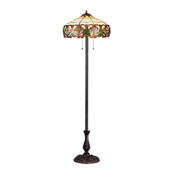 Z-Lite - Z-Lite Z20-33FL Hudson 3 Light Floor Lamps in Chestnut Bronze - Inspired by nature, this floor lamp displays green leaf motifs encircled by sweeping amber patterns on a beige background, adding a warm touch of light and nature to any room of the house. This fixture is finished in chestnut bronze.