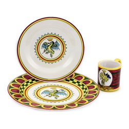 Artistica - Hand Made in Italy - PALIO DI SIENA: DRAGO (Dragon) Place setting pre-pack: Charger+Dinner+Mug - The ''Palio di Siena'' is a tournament as a replica of a medieval horse race which is ran twice year, during the summer season, in the city of Siena, located in the beautiful Tuscany region.