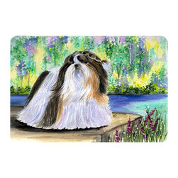 Caroline's Treasures - Shih Tzu Kitchen or Bath Mat 24 x 36 - Kitchen or Bath Comfort Floor Mat This mat is 24 inch by 36 inch. Comfort Mat / Carpet / Rug that is Made and Printed in the USA. A foam cushion is attached to the bottom of the mat for comfort when standing. The mat has been permanently dyed for moderate traffic. Durable and fade resistant. The back of the mat is rubber backed to keep the mat from slipping on a smooth floor. Use pressure and water from garden hose or power washer to clean the mat. Vacuuming only with the hard wood floor setting, as to not pull up the knap of the felt. Avoid soap or cleaner that produces suds when cleaning. It will be difficult to get the suds out of the mat.
