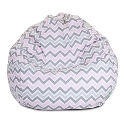Majestic Home - Indoor Pink Zoom Zoom Small Beanbag - Everybody loves a beanbag — and in this zippy pattern, it's bound to become the best seat in the house. Let 'em all pile on with no worries. The durable cotton twill slipcover zips off so you can just toss it in the wash.