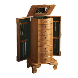 Adarn Inc - Traditional Deluxe Warm Oak Jewelry Armoire Chest Box Lift Top Mirror Drawer - Keep keepsake or heirloom jewelry safely tucked away with the help of this deluxe oak jewelry armoire. Side doors, a lift top and storage drawers at the chest's center feature black lining for a gentle solution to your jewelry storage needs. Hooks on the side doors are ideal for hanging chains or necklaces, and a lift top with mirrored insert opens to reveal additional compartments for earrings, rings or hair pins. Scalloped edges on the lid complement neatly carved bracket feet on the base, classic details that are further enhanced by the light oak finish that completes this stunning piece.