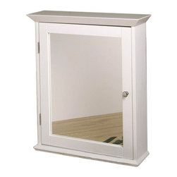 """Zenith - Medicine Cabinet with Mirrored Door in Classic White - Features: -Medicine cabinet. -Classic White finish. -Surface mount. -Classic style. -Mirrored door. -Chrome hardware. -Fully assembled. -Overall dimensions: 25"""" H x 22"""" W."""