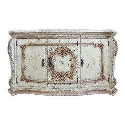 Diana Sideboard, Bone Distressed with Scroll Medallion - Diana Sideboard, Bone Distressed with Scroll Medallion