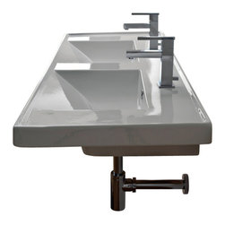 Scarabeo - Rectangular Double White Ceramic Self Rimming or Wall Mounted Bathroom Sink - Rectangular double white ceramic self rimming or wall mounted sink. Double sink comes with two overflows and no hole, two hole or six hole options. Made in Italy by Scarabeo.