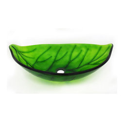 None - Glass Leaf-shaped Sink Bowl - Have a nature themed bathroom and accent it with this Leaf Design Glass Vessel Sink. This sink is molded in a leaf shape pattern in green transparent tempered glass.