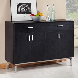 Furniture of America - Furniture of America Mason Buffet Multicolor - YNJ-BT2222BLK-A1 - Shop for Buffets and Side Boards from Hayneedle.com! The Furniture of America Furniture of America Mason Buffet features clean lines that create an urban look on a traditional concept.This dining server/buffet has a black finish accented by nickel hardware handles on two storage drawers. The wine holder features five slots giving you room to store your favorite bottles when guests are over. The two cabinet doors feature adjustable shelves and metal hinging.About Furniture of America Based in California Furniture of America has established itself as a premier provider of fine home furnishings. The people behind Furniture of America brand are moved by passion hard work and persistence. They are always striving to design the latest piece keeping in mind their mission to make quality furniture available to urban-minded shoppers without compromising the packaging integrity.Furniture of America offers unique coordinated and affordably designed furniture; they are a one-step resource for high-quality furniture with secure and professional packaging in the furniture industry.
