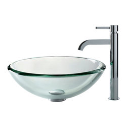 Kraus - Kraus C-GV-101-19mm-1007CH Clear 19mm thick Glass Vessel Sink and Ramus Faucet - Add a touch of elegance to your bathroom with a glass sink combo from Kraus