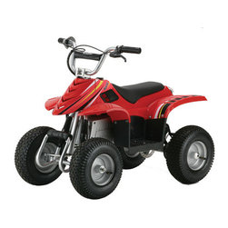 Razor - Dirt Quad Electric ATV in Red - Off-roading never seemed so fun! The Dirt Quad Electric Four-Wheeled Off Road Vehicle features authentic dirt quad frame geometry and a high torque gear ration for excellent climbing capabilities. The terrain tracing droop-travel rear suspension offers a smooth ride and a shatter resistant plastic fairings and powder coated tubular steel frame make the Dirt Quad great in all types of weather. Features: -Ideal for 8 and up. -Authentic dirt quad frame geometry. -Some assembly required. -Terrain tracing droop-travel rear suspension. -Shatter resistant plastic fairings. -Weather proof / splash proof. -Space-saving vertical storage capability. -Twist-grip throttle acceleration control. -Adjustable riser handlebars. -Front brush bar. -Rechargeable battery. -Hand operated rear disc brake. -Padded seat. -Rear carry handle. -UL approved battery charger and tools included. -Powder coated tubular steel frame. -Decorations may vary. -Thirteen inch pneumatic tires. -Variable speed, chain driven motor gives quiet yet powerful ride. -High torque gear ration. -Maximum rider weight 120 lbs.