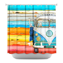 DiaNoche Designs - Shower Curtain Artistic - Playing Hooky - DiaNoche Designs works with artists from around the world to bring unique, artistic products to decorate all aspects of your home.  Our designer Shower Curtains will be the talk of every guest to visit your bathroom!  Our Shower Curtains have Sewn reinforced holes for curtain rings, Shower Curtain Rings Not Included.  Dye Sublimation printing adheres the ink to the material for long life and durability. Machine Wash upon arrival for maximum softness. Made in USA.  Shower Curtain Rings Not Included.