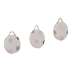 Sweet Jojo Designs - Pink & Chocolate Mod Dots Wall Decor - The Chocolate Pink Mod Dots Wall Decor by Jojo Design include 3 wall hangings that will add a designers touch to any childs room! These childrens wall hangings are handcrafted with care and will brighten any childs room or nursery.