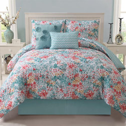 None - Kayla 5-piece Reversible Comforter Set - This comforter set is designed to keep a bedroom updated and fashionable in the most convenient and inexpensive way. For more options, the floral pattern reverses to a unique zig zag pattern.