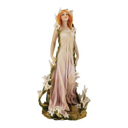 """EttansPalace - 10.5"""" Art Noveau French Spring Maiden Statue Sculpture Figurine - by Alphonse Mucha (1860-1939). With long, flowing hair and romantic curves, these Art Nouveau maidens spring to life in two amazing sculpts fashioned after the work of Alphonse Mucha. Complete with delicate flowers and billowing gowns, these sculpts are cast in quality designer resin and fully hand-painted in softly muted tones."""