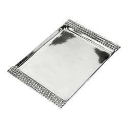Arthur Court - Jewel Rectangular Tray - This stunning serving piece bridges the gap between contemporary and traditional design with beaded edges that shimmer and catch the light. Ideal for entertaining, it's made from food-safe aluminum alloy, so it travels easily from refrigerator to table.