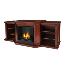 Real Flame - Valmont Gel Fuel Dark Mahogany Entertainment Fireplace - The hand-painted logset and bright crackling flame add to the realistic look of this Real Flame Gel Fuel Fireplace. Angled columns with flared corbels and recessed side panels highlight the grand profile of this Valmont mantel.