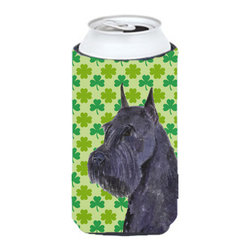 Caroline's Treasures - Schnauzer Giant St. Patrick's Day Shamrock Portrait Tall Boy Koozie Hugger - Schnauzer Giant St. Patrick's Day Shamrock Portrait Tall Boy Koozie Hugger Fits 22 oz. to 24 oz. cans or pint bottles. Great collapsible koozie for Energy Drinks or large Iced Tea beverages. Great to keep track of your beverage and add a bit of flair to a gathering. Match with one of the insulated coolers or coasters for a nice gift pack. Wash the hugger in your dishwasher or clothes washer. Design will not come off.