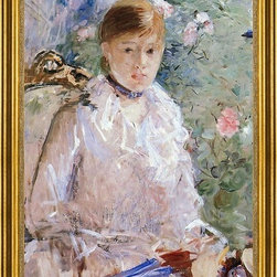 "Berthe Morisot-16""x24"" Framed Canvas - 16"" x 24"" Berthe Morisot Summer (also known as Young Woman by a Window) framed premium canvas print reproduced to meet museum quality standards. Our museum quality canvas prints are produced using high-precision print technology for a more accurate reproduction printed on high quality canvas with fade-resistant, archival inks. Our progressive business model allows us to offer works of art to you at the best wholesale pricing, significantly less than art gallery prices, affordable to all. This artwork is hand stretched onto wooden stretcher bars, then mounted into our 3"" wide gold finish frame with black panel by one of our expert framers. Our framed canvas print comes with hardware, ready to hang on your wall.  We present a comprehensive collection of exceptional canvas art reproductions by Berthe Morisot."