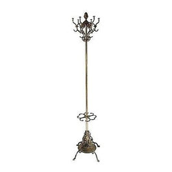 Pre-owned Brass Coat Rack & Umbrella Stand - Adorn your entry with this stylish, functional accent. This ornate brass rack has hooks for coats and inserts for umbrellas...everything you need to welcome your guests in style!